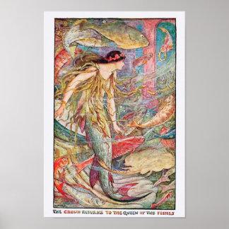 """Poster """"La couronne revient à la reine des poissons """""""