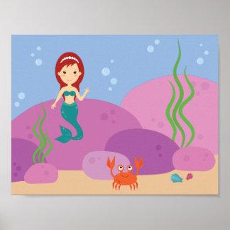 Poster La crèche sous-marine de bande dessinée d'océan de