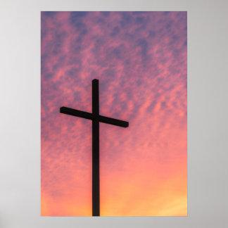 Poster La croix au coucher du soleil