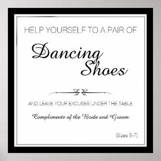 Poster La danse noire et blanche chausse le signe de