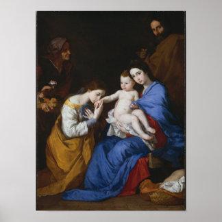 Poster La famille sainte avec des saints Anne et