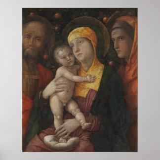 Poster La famille sainte avec le saint Mary Magdalene