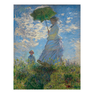 Poster La femme de Monet reconstitué avec un parasol la