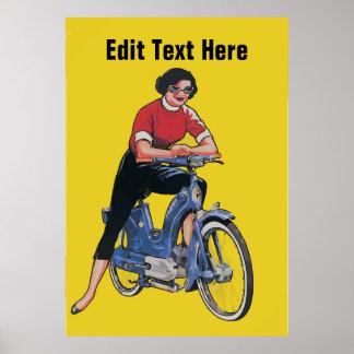 Poster La femme vintage élisent dessus le vélo