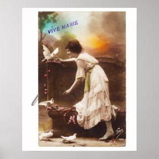 Poster La femme vintage Vive Marie de carte postale