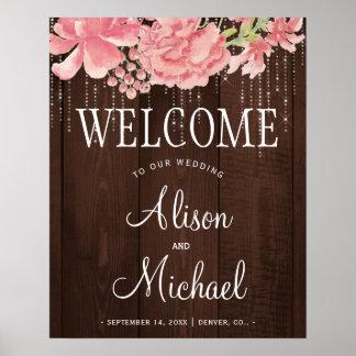 Poster La ficelle allume floral rougissent épousant le