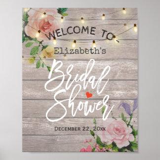 Poster La ficelle florale allume le signe bienvenu de