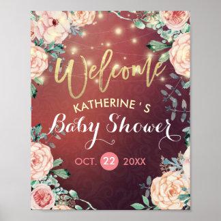Poster La ficelle florale bienvenue de baby shower allume
