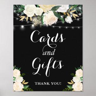 Poster La ficelle florale crème allume les cartes et le