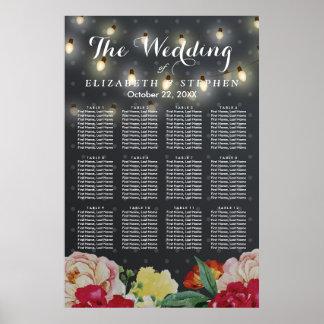 Poster La ficelle florale élégante allume le diagramme