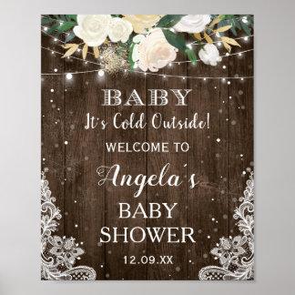 Poster La ficelle florale rustique allume le bébé son