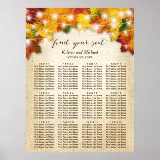 Poster La ficelle rustique de feuille d'automne allume le