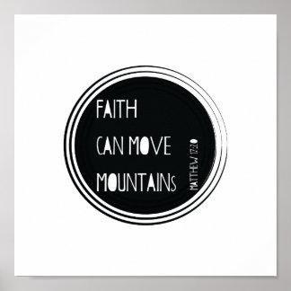 """Poster La """"foi peut vers de bible déplacer montagnes"""""""