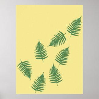 Poster La fougère verte de flottement laisse l'affiche