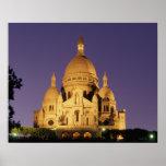 Poster La France, Paris, Sacré-Coeur au crépuscule