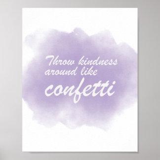Poster La gentillesse de jet aiment autour des confettis