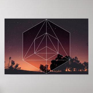 Poster La géométrie sacrée contre. Le ciel de nuits