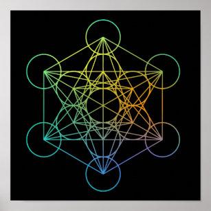 Poster La géométrie sacrée de cube en Metatron