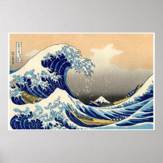 Poster La grande vague outre de Kanagawa, affiche