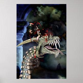 Poster La guerrière de femme lutte le dragon
