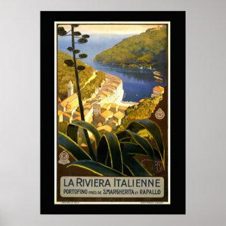 Poster La la Riviera Italienne, affiche vintage de voyage
