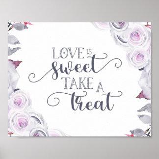 Poster La lavande et l'amour floral gris de guirlande est