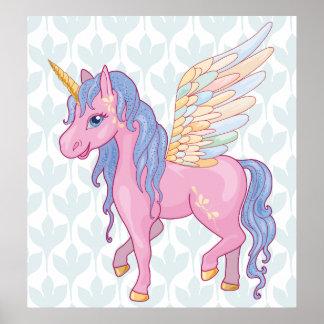 Poster La licorne mignonne magique avec l'arc-en-ciel