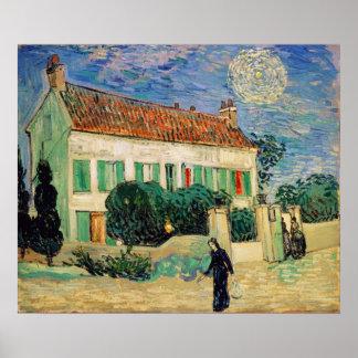 Poster La Maison Blanche de Vincent van Gogh   la nuit,