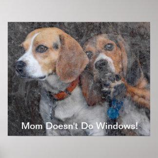 Poster La maman drôle ne fait pas le beagle de Windows