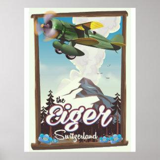 Poster La montagne d'Eiger, affiche de voyage de la
