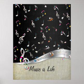"""Poster La """"musique est les notes colorées fraîches impres"""