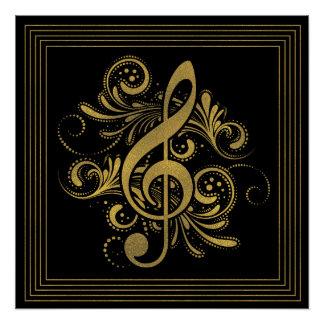 Poster La musique note la forme de coeur en or