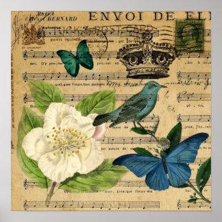 Poster la musique vintage d'oiseau de couronne note