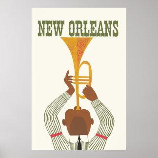 Poster La Nouvelle-Orléans, jazz, affiche de voyage