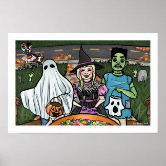 Poster La nuit de Halloween badine la sucrerie de fantôme