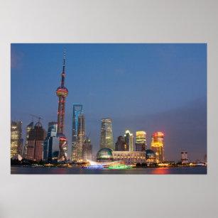 Poster La nuit tombe sur Changhaï Chine