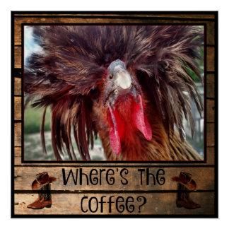 Poster Là où est le café avec le poulet polonais