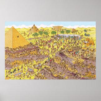 Poster Là où est l'énigme de Waldo | des pyramides