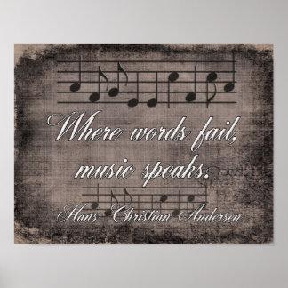 Poster Là où les mots échouent -- Citation de musique -