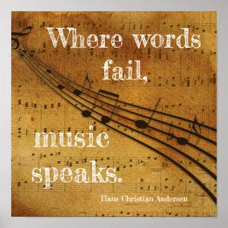 Poster Là où les mots échouent ** la musique parle - la