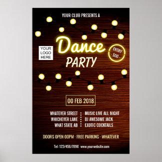 Poster La partie de musique de danse de disc-jockey de