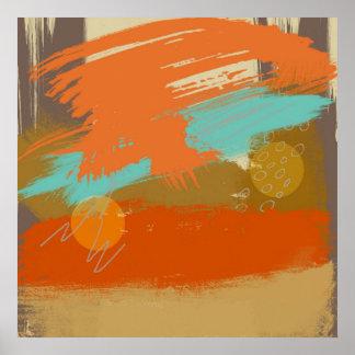 Poster La peinture abstraite d'art de paysage entoure des