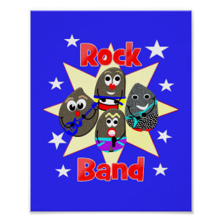 Poster La peinture drôle de roche de groupe de rock