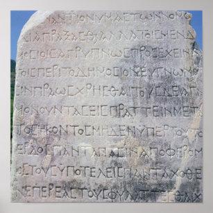 Poster La pierre hellénistique d'épigraphe, a trouvé dans