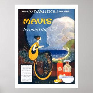 Poster La publicité 1920 vintage de parfum de Mavis d'art