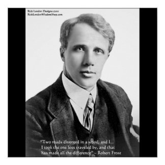 Poster La route de Robert Frost moins a voyagé affiche de