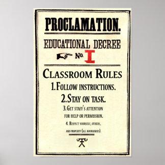 Poster La salle de classe ordonne le décret éducatif 1 de