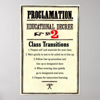 Poster La salle de classe ordonne le décret éducatif 2 de