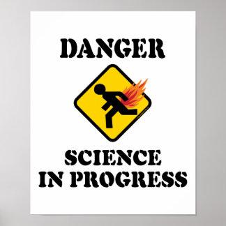 Poster La Science de danger en cours - humour flamboyant
