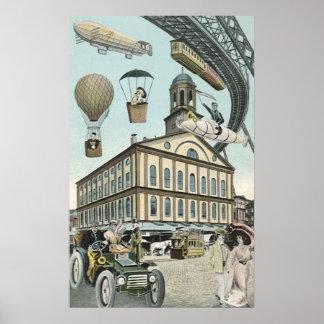 Poster La science-fiction vintage, ville victorienne de